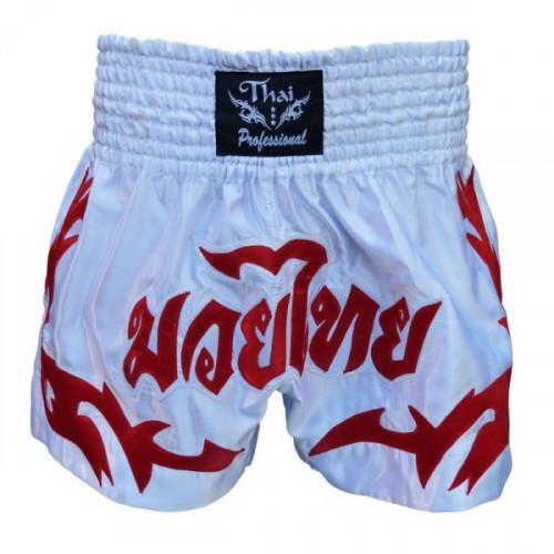 Шорты для тайского бокса Thai Professional (S4) White/Red р. L